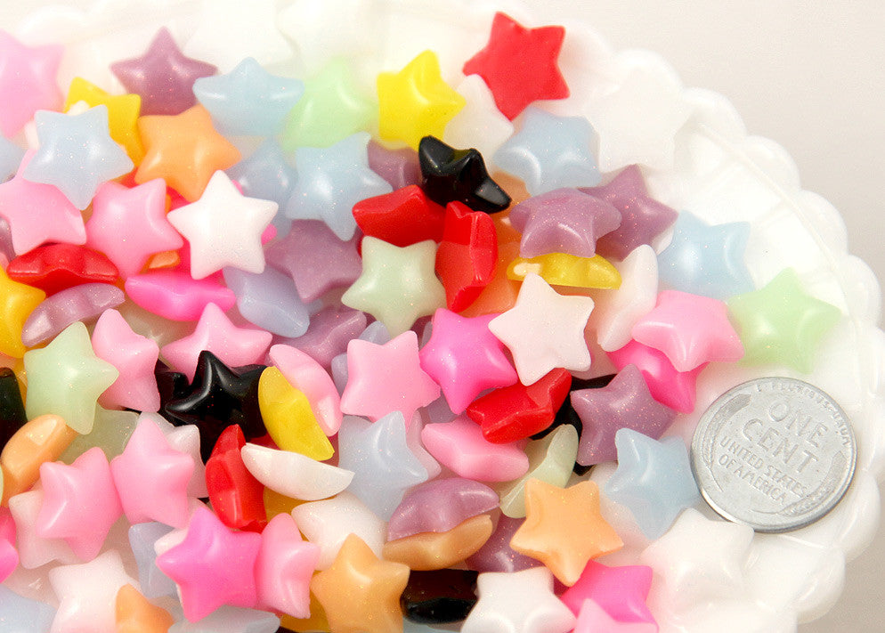 13mm Small Stars Resin Flatback Cabochons - 40 pc set