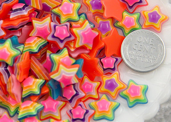 13mm Tiny Bright Striped Neon Rainbow Stars Resin Cabochons - 15 pc set