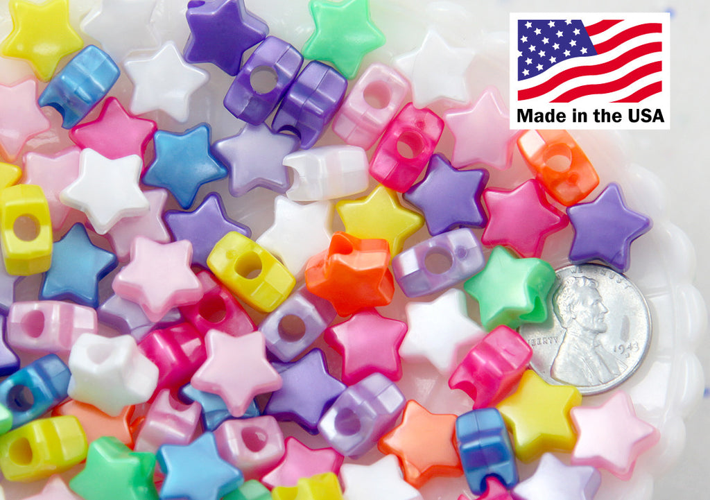 Kawaii Star Beads - 13mm Bright Color Pearly Stars Plastic Beads - Super Cute Shiny Stars Acrylic or Resin Beads - 150 pc set