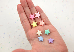 14mm Beautiful Bright Pastel Star Acrylic or Resin Beads - 120 pcs set