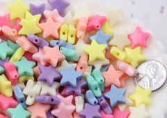 14mm Beautiful Bright Pastel Star Acrylic or Resin Beads - 100 pcs set