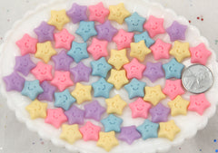 14mm Little Kawaii Pastel Stars with Happy Smiley Face Resin Flatback Cabochons - 16 pc set