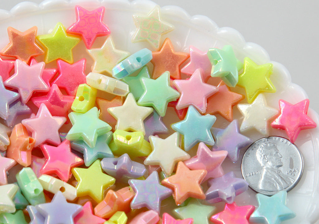 14mm AB Beautiful Bright Pastel Star with Shiny Iridescent Finish Acrylic or Resin Beads - 100 pcs set