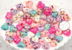 14mm Little Sparkle Party Confetti Pastel Heart Acrylic or Resin Flatback Cabochons - 15 pc set