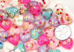 14mm Little Sparkle Party Confetti Pastel Heart Acrylic or Resin Flatback Cabochons - 12 pc set
