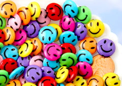 Happy Face Beads - 14mm Happy Face Beads Round Smile Faces Small Colorful Plastic or Acrylic Bead - 60 pc set
