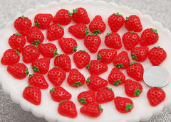 13mm Little Red Strawberry Flatback Resin Cabochons - 8 pcs set