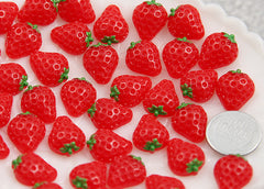 13mm Little Red Strawberry Flatback Resin Cabochons - 12 pcs set