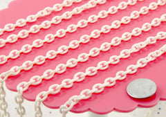 8mm Perfect Acrylic or Plastic Chain, White Color - 15 inch length / 39 cm length - For Making Neclaces and Other Jewelry - 3 pcs set