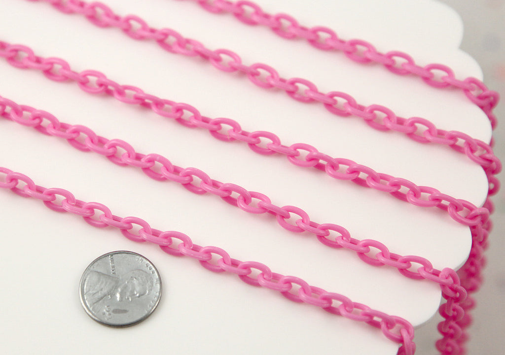 8mm Perfect Acrylic or Plastic Chain, Pink Color - 15 inch length / 39 cm length - For Making Neclaces and Other Jewelry - 3 pcs set