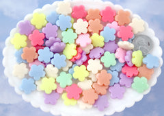 Pastel Beads - 14mm Flat Pastel Flower Acrylic or Resin Beads - 80 pcs set