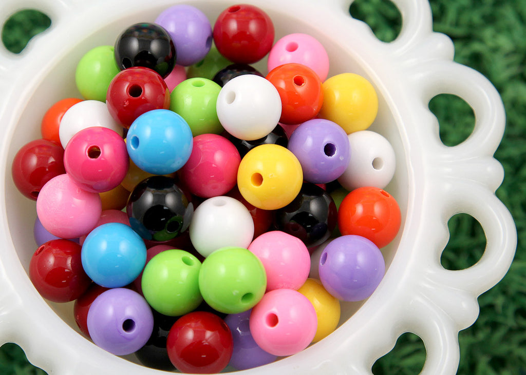 14mm Gumball Bubblegum Resin or Acrylic Beads - 30 pcs set