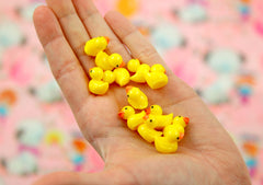 18mm Tiny Adorable Miniature Rubber Ducky - Little Toy Duck 3d Mini Resin Cabochons - 6 pc set