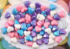 14mm Shiny Heart Pastel AB Iridescent Acrylic Pearly Plastic Beads - 60 pc set