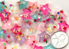 14mm Little Sparkle Party Confetti Pastel Star Acrylic or Resin Flatback Cabochons - 25 pc set