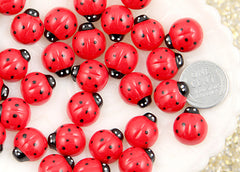 14mm Cute Ladybug Resin Cabochons - 8 pc set