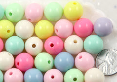 14mm Beautiful Bright Pastel Round Shape Acrylic or Resin Beads - 32 pcs set