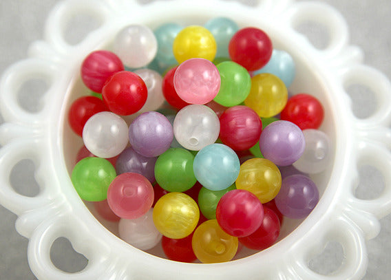 14mm Colorful Moonglow Resin Beads - 32 pc set