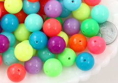 Super Bright Acrylic Beads - 14mm Bright Neon Gumball Chunky Bubblegum Resin Beads - 50 pc set