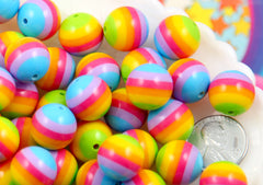 Rainbow Beads - 14mm Super Bright Rainbow Striped Resin Beads - 16 pc set