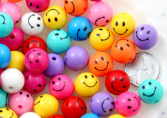 Happy Face Beads - 14mm Kawaii Happy Face Beads Round Smile Faces Small Colorful Plastic or Acrylic Bead - 30 pc set