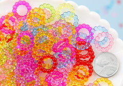 Ring Charms - 14mm Small Colorful Rings Charms Plastic or Acrylic Beads - 150 pcs set