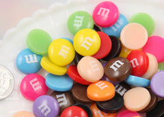 14mm Fake M&M Chocolate Candies Resin or Acrylic Cabochons - for your faux food craft ideas - 9 pc set