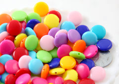 Candy Beads - 14mm Cute Brightly Colored Flat Round Coin Shape Acrylic or Plastic Beads - 80 pc set