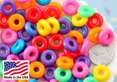 Donut Beads - 14mm Ring Shape Donut Beads or Charms Plastic or Acrylic Beads - 150 pcs set