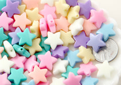 Pastel Star Beads - 14mm Rounded Pastel Star Acrylic or Resin Beads - 100 pcs set