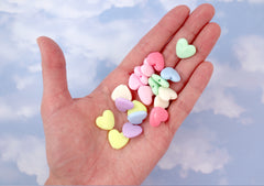 Pastel Heart Beads - 14mm Flat Pastel Heart Acrylic or Resin Beads - 60 pcs set
