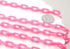 Plastic Chain - 14mm Bright Pink Acrylic or Plastic Chain - 15 inch length / 38 cm length - 3 pcs set