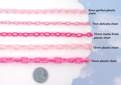 8mm Perfect Acrylic or Plastic Chain, Light Pink Color - 15 inch length / 39 cm length - For Making Neclaces and Other Jewelry - 3 pcs set