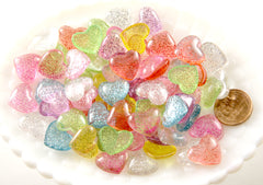15mm Candy Heart Resin Cabochons - 32 pc set