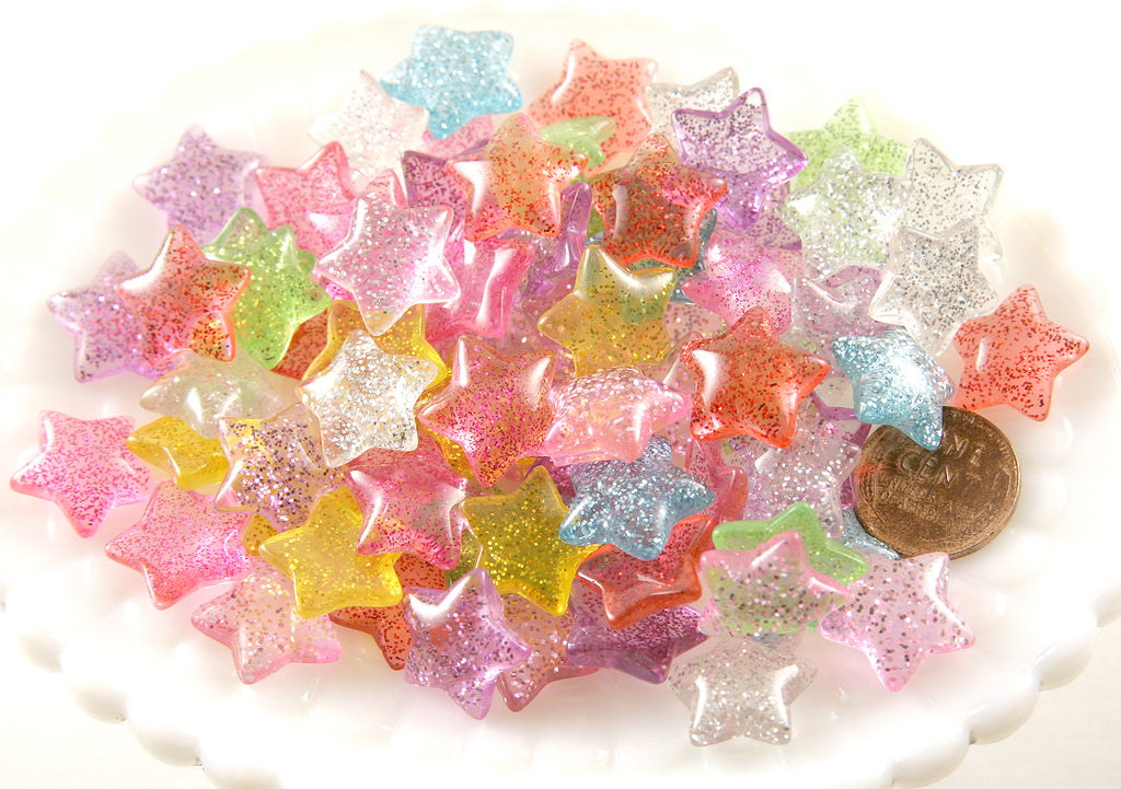 15mm Candy Star Resin Cabochons - 28 pc set