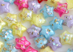 14mm Sparkle Stars Resin Cabochons - 15 pc set