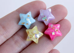 14mm Sparkle Stars Resin Cabochons - 16 pc set