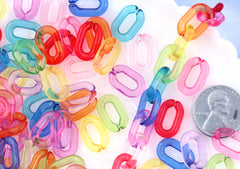 Plastic Chain Links - 15mm Transparent Colorful Plastic or Acrylic Chain Links - Mixed Colors - 200 pc set