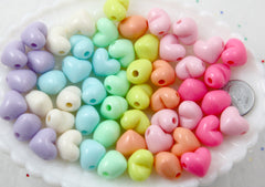 Pastel Heart Beads - 15mm 3D Convex Heart Beautiful Bright Pastel Puffy Hearts Acrylic or Resin Beads - 70 pcs set