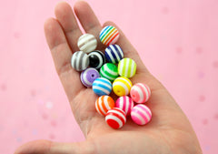 Stripe Resin Beads - 15mm Striped Resin Beads, mixed color - 15 pc set