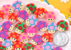 15mm Little Fimo Mushroom Guys Bright Color Trippy Kawaii Polymer Clay Cabochons - 20 pc set