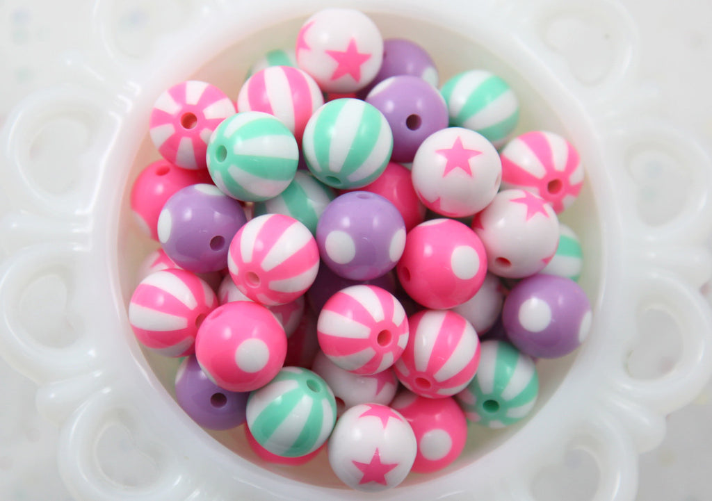 Pastel Mix - Kawaii Beads - 15mm Pastel Color Mix Round Resin Beads - 15 pc set