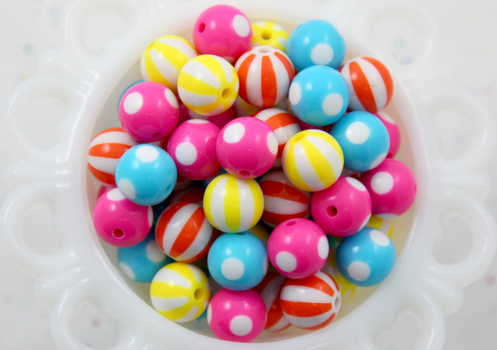 Pop and Cute Mix - Kawaii Beads - 15mm Bright Color Mix Round Resin Beads - 16 pc set