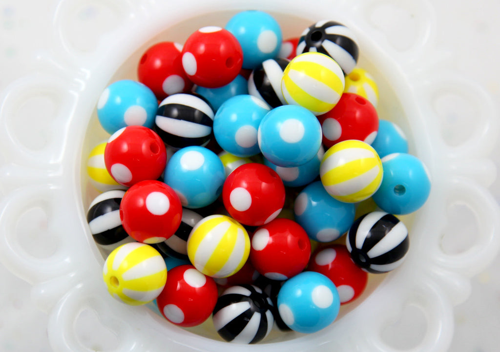 Primary Mix - Kawaii Beads - 15mm Bright Color Mix Round Resin Beads - 16 pc set