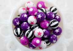 Witchy Mix - Kawaii Beads - 15mm Purple and Black Color Mix Round Resin Beads - 16 pc set