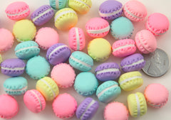 15mm Super Tiny Mini Macaron Decorations or Cabochons, Pastel Colors - for making fake food crafts - 10 pc set