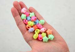 Pastel Star Beads - 15mm Chunky 3D Rounded Puffy Pastel Star Acrylic or Resin Beads - 50 pcs set