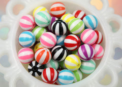 15mm Beach Ball Striped Resin Beads - 12 pc set