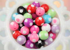 15mm Cute Mixed Color Polka Dot Resin Beads - 10 pc set
