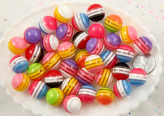 15mm Juicy Stripes Colorful Chunky Resin Beads - 10 pc set
